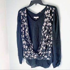 🌸SALE🌸 Rebecca Taylor Leopard Silk Draped Top